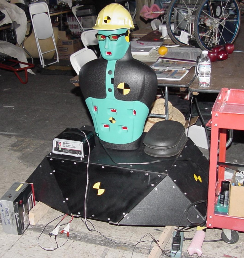 Crash Test Dummy charging before event.